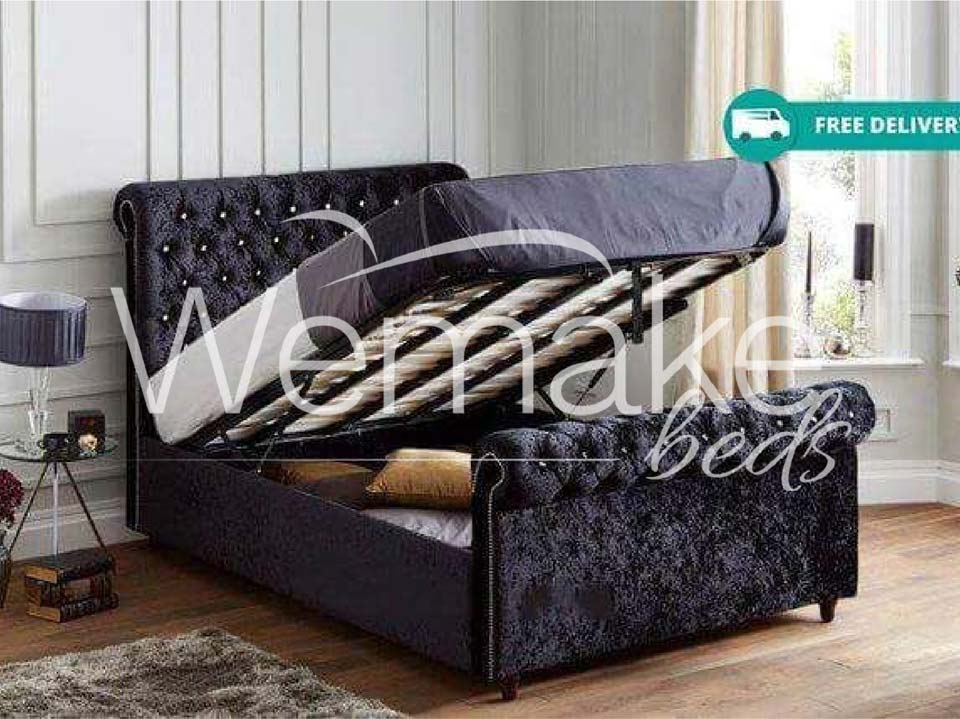 Chesterfield Slatted Ottoman Storage Bed Wemakebeds